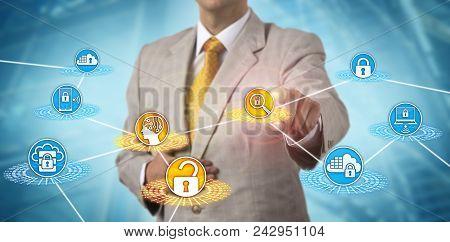 Unrecognizable It Services Administrator Detecting Breach Or Data Loss Via Ai App. Cybersecurity Con
