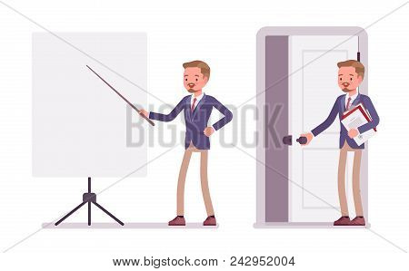 Male Office Secretary. Smart Man Wearing Jacket And Skinny Trousers, Assisting In Presentation, Stan
