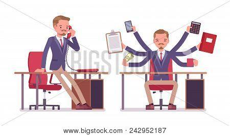 Male Office Secretary. Smart Man Wearing Jacket, Skinny Trousers, Assisting In Work, Performs Multip