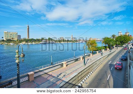Cairo, Egypt - December 24, 2017: The View On Corniche Embankment Of Nile River From The Qasr El Nil