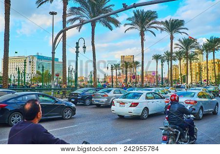 Cairo, Egypt - December 24, 2017:  The Traffic Jam At The Entry To Midan Tahrir Square From Qasr El