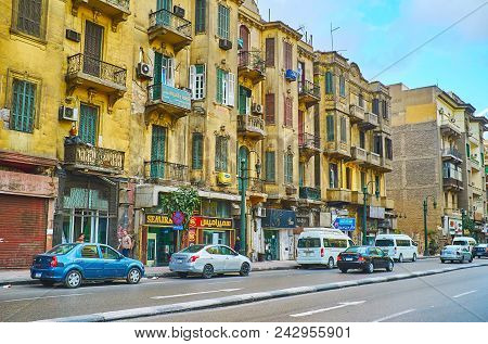 Cairo, Egypt - December 24, 2017:  The Old Shabby Buildings With Peeling Plaster Stretch Along The Q