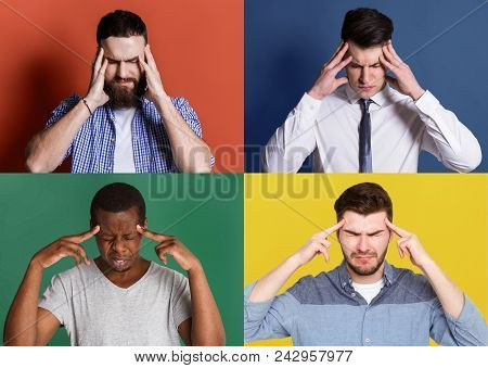 Collage Of Different Concentrated Men Thinking About Something. Set Of Serious Guys With Headache Po