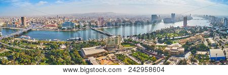 Cairo, Egypt - December 24, 2017: The Landscape With A View On Downtown Architecture, Numerous Bridg