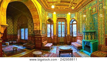 Cairo, Egypt - December 24, 2017: Panorama Of The Chambers In Residence Building Of Manial Palace -