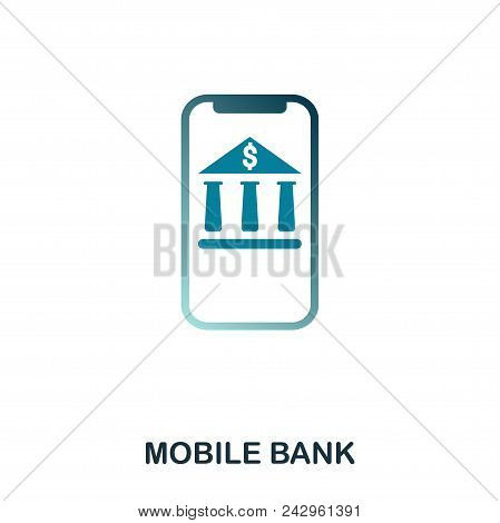 Mobile Bank Icon. Flat Style Icon Design. Ui. Illustration Of Mobile Bank Icon. Pictogram Isolated O