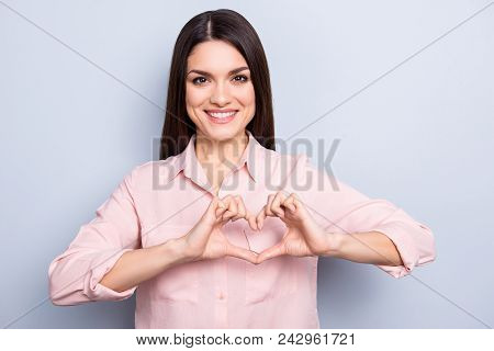 Portrait Of Pretty, Charming, Sweet, Cute, Nice, Good Woman In Classic Shirt With Beaming Smile Maki