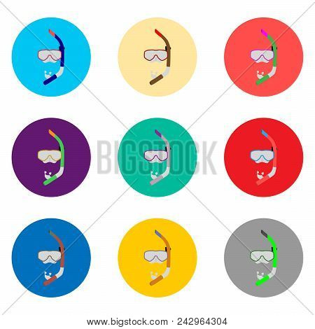 Vector Icon Illustration For Set Symbols Mask To Diving, Sea Swimming. Diving Pattern Consisting Of