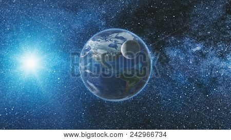 Sunrise view from space on Planet Earth and Moon rotating in space. Blue sky Milky Way with thousand stars in the background. Astronomy and science concept. Elements of image furnished by NASA
