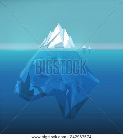 Iceberg Polygonal Illustration, Sea Ice Berg, Underwater Ice, Abstract Polygon Ice Floe, Glacier Vec