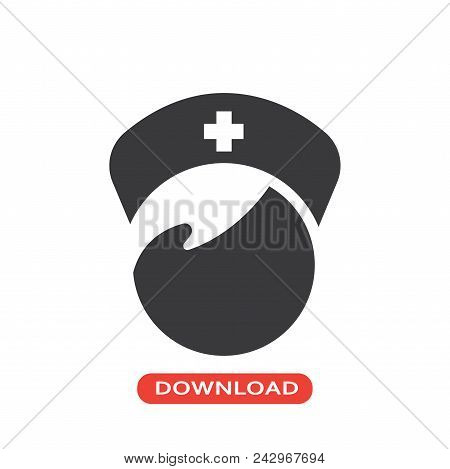 Nurse Vector Icon Flat Style Illustration For Web, Mobile, Logo, Application And Graphic Design. Nur