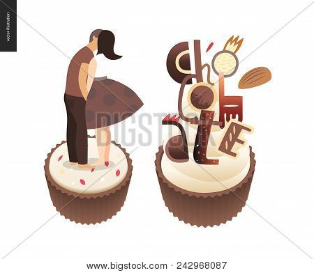 Kissing Scene - Flat Cartoon Vector Illustration Of Young Couple Kissing On Chocolate, Romantic Scen