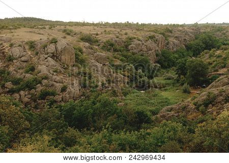 Summer Landscape, Grey Rocks And Small River