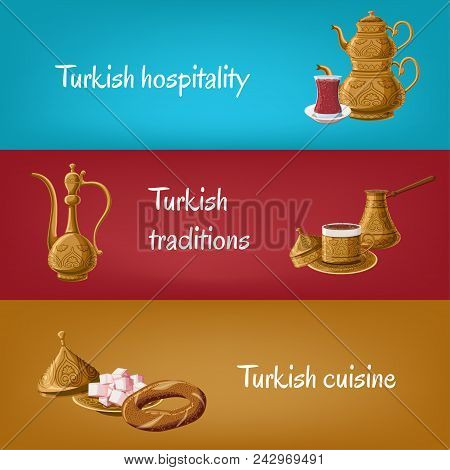Turkish touristic banners with brass utensils double teapot, tea glass, locum, pitcher, coffee, simit. Turkish hospitality, traditions, cuisine. Travel to Turkey concept. Cartoon vector illustration poster