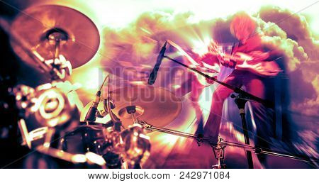 Live Music Background.concert And Music Festival.instrument On Stage And Band.stage Lights.double Ex