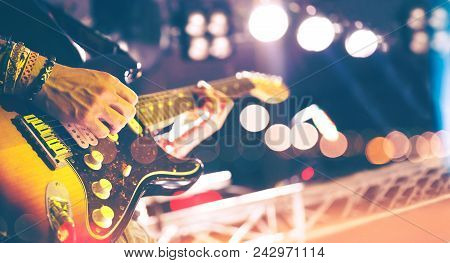Live Music Background Vintage Style.concert And Music Festival.instrument On Stage And Band.stage Li