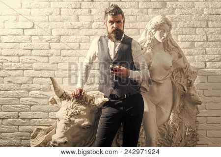 Man With Serious Emotion. Sculpture, Business, Architecture. Visitor In Gallery, Travel. Man Critic