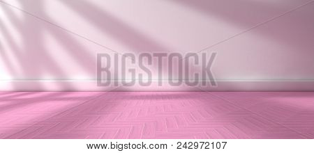 3d Illustration.empty Room.tile Floor And White Wall Background.sunlight Through The Window And Inte