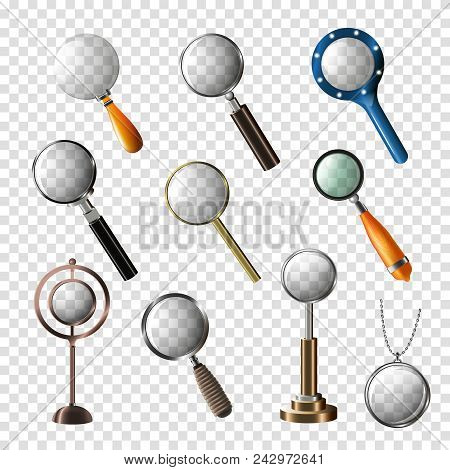 Magnifying Glass Vector Magnification Zoom Or Search And Magnify Research Lens Illustration Set Of M