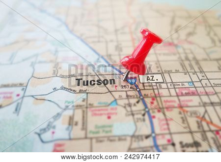 Closeup Of Tucson Arizona Map With Red Pin