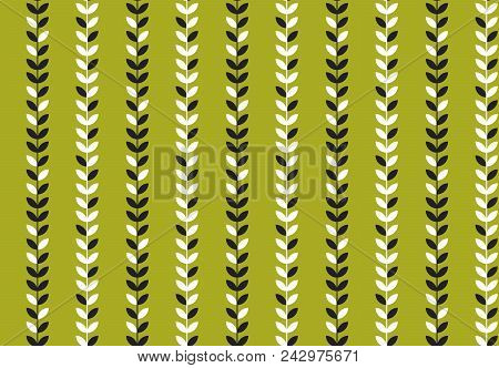 Simple Flat Tropical Pattern In Green Color. Nature Floral Stock Vector Illustration.  Concept Seaml