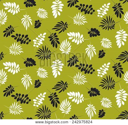 Simple Flat Tropical Leaves Monochrome Pattern. Nature Floral Stock Vector Illustration. Concept Sea