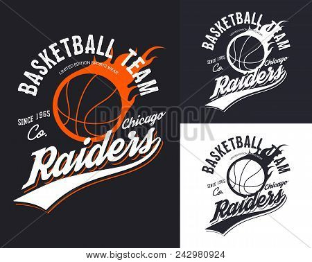 Chicago University Or College, Varsity Or School Basketball Team T-shirt Logo. Set Of Isolated Symbo