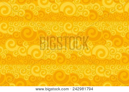 Art Nouveau Swirl Seamless Pattern. Yellow Abstract Geometry Repeatable Motif For Background, Fabric
