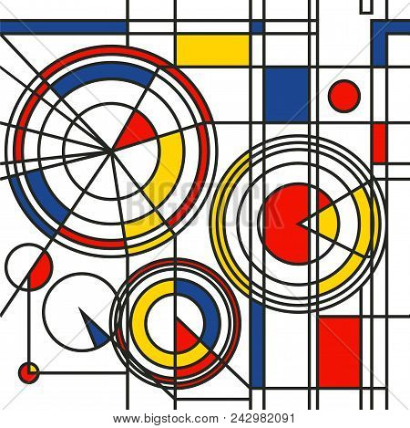 The original geometric pattern in the style of the Bauhaus of their three colors - blue, red and yellow poster