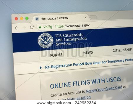 Amsterdam, Netherlands - May 28, 2018: Website Of U.s. Citizenship And Immigration Services (uscis).