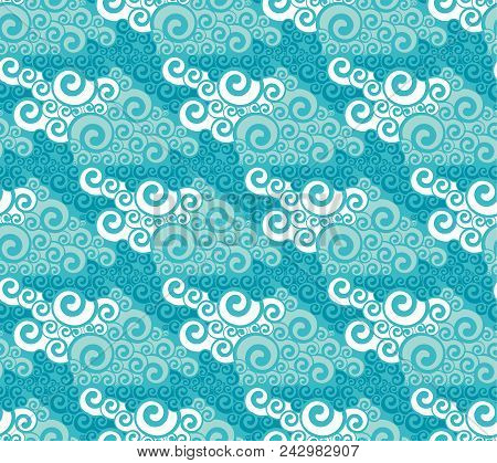 Blue Water Oriental Seamless Pattern. Vintage Style Swirl Abstract Geometric Repeatable Motif For Ba