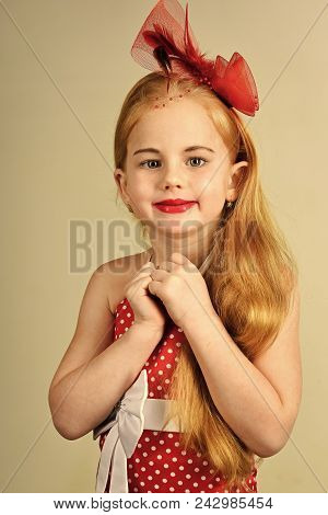 Child Childhood Children Happiness Concept. Little Girl In Vintage Dress, Prom. Retro Girl Or Fashio