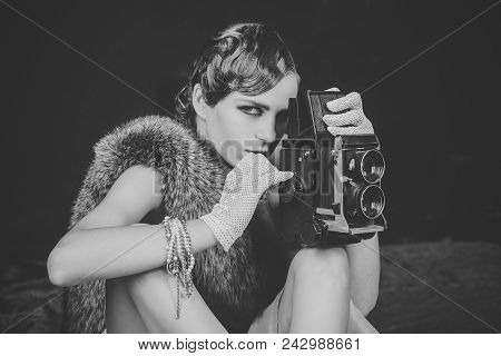 Girl Powered. Issues Face Girls. Woman With Retro Hair, Makeup And Old Camera. Pin Up Pretty Fashion