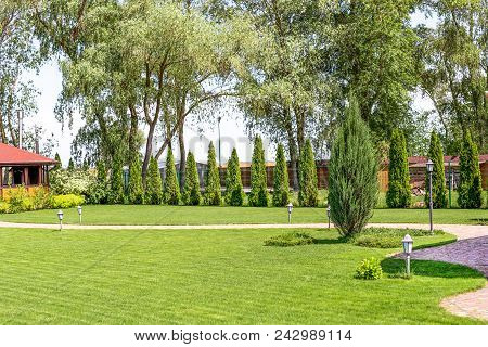 Freshly Mowed Rows Of Green Lawn At Country Residence With Summerhouse. Hedge Of Fresh Cedars. Lands