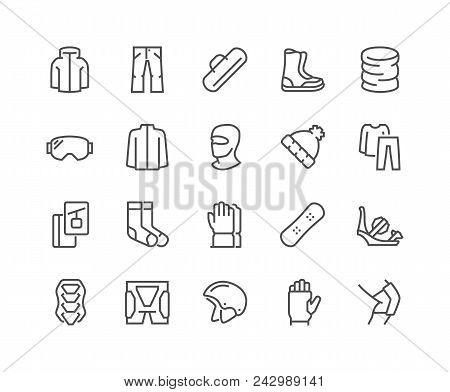Simple Set Of Snowboarding Related Vector Line Icons. Contains Such Icons As Body Armor, Snowboard B