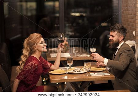 Couple Secrets Fantasy. Valentines Day With Sexy Woman And Bearded Man. Date Of Family Couple In Rom