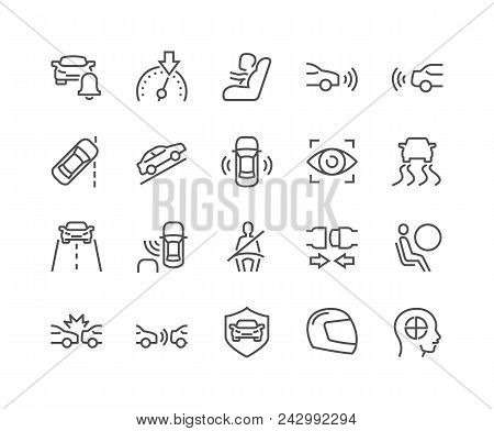 Simple Set Of Car Safety Related Vector Line Icons. Contains Such Icons As Baby Cheat, Lane Control,