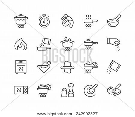 Simple Set Of Cooking Related Vector Line Icons. Contains Such Icons As Frying Pan, Boiling, Flavori