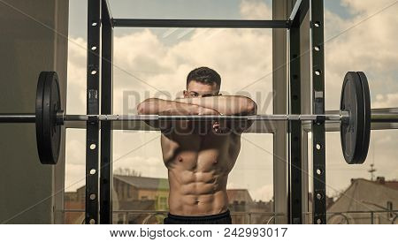 Man With Nude Torso In Gym Enjoy His Sporty Lifestyle. Sport And Gym Concept. Sportsman, Athlete Wit