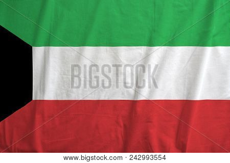 Fabric Texture Of The Flag Of Kuwait.
