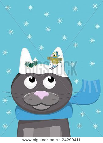 Snow-cat With Skiing Bird