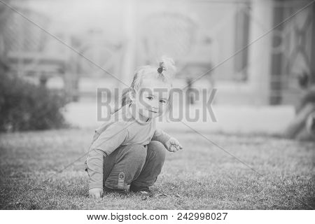 Child Childhood Children Happiness Concept. Baby Boy Playing With Leaves. Small Child Sitting On Mea