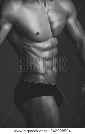 Coach Sportsman With Bare Chest. Dieting And Fitness.sport And Workout. Man With Muscular Body And T