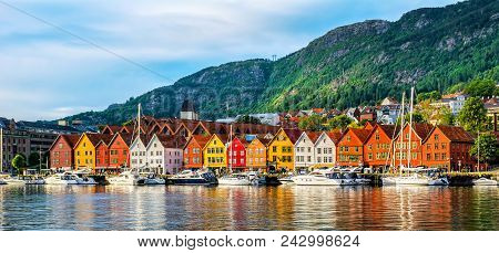 Bergen, Norway. View Of Historical Buildings In Bryggen- Hanseatic Wharf In Bergen, Norway. Unesco W