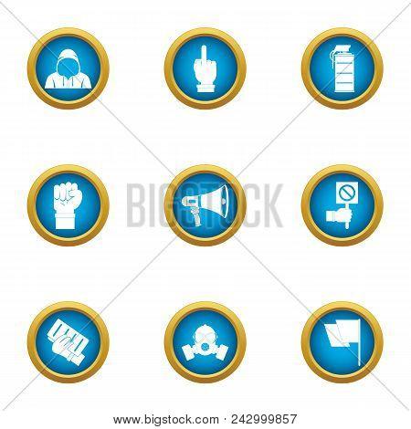 Revolt Icons Set. Flat Set Of 9 Revolt Vector Icons For Web Isolated On White Background