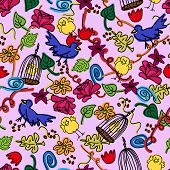 Seamless busy pattern of child like colorful doodles with birds cage flowers and leaves over pale purple background. poster
