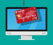 Bank card and fishing hook. Internet phishing, hacked login and password. Computer netwrok and internet security concept. Anti virus, spyware, malware. Vector illustration in flat style poster
