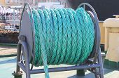 Ship Ropes Sack at Naval Icebreaker Ship. Azure Cable Ropes Wire on Navy Ship Deck, Boat Equipment Detail. Boat Interior with Colorful Cable Ropes on Deck Close Up View, Conceptual Image. poster
