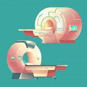 Vector cartoon MRI scanner for tomography, medical examination. Machine of magnetic resonance imaging for x-ray diagnosis. Modern technology for hospitals, clinics isolated on background. poster