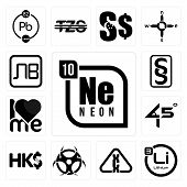 Set Of 13 simple editable icons such as neon, lithium, carcinogen, contagion, hong kong currency, 45 degree angle, , paragraf, bulgarian currency can be used for mobile, web UI poster
